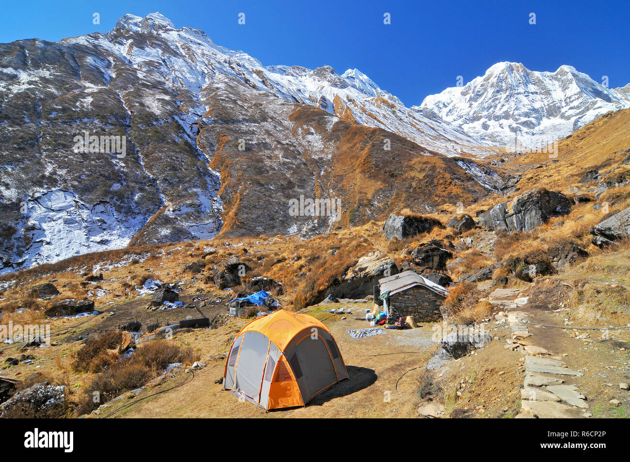 Nepal, Annapurna Conservation Area, Tents Near By Machhapuchhre Base Camp Stock Photo