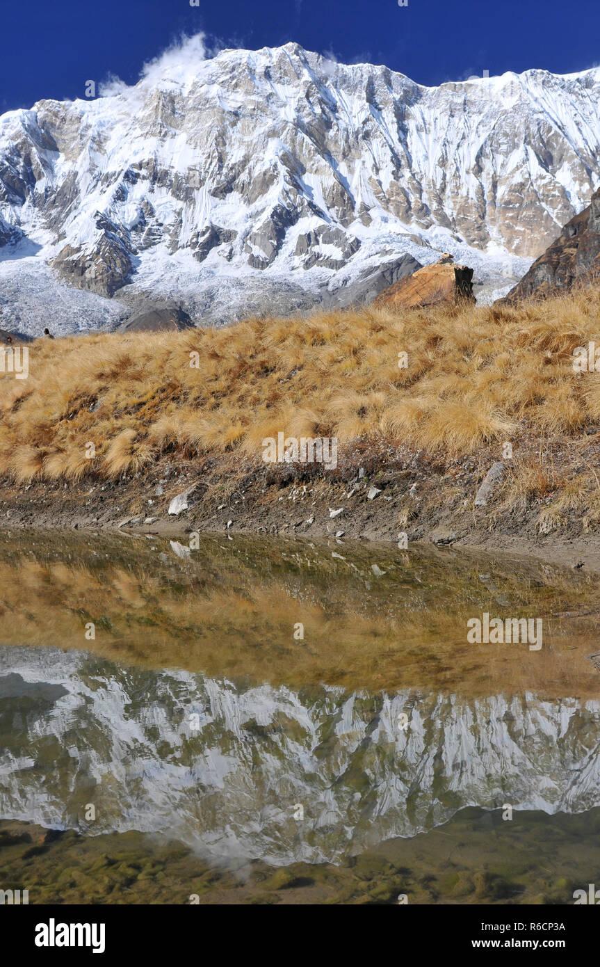 Nepal, Annapurna Conservation Area, Trek To Annapurna Base Camp In Nepal Himalaya Stock Photo