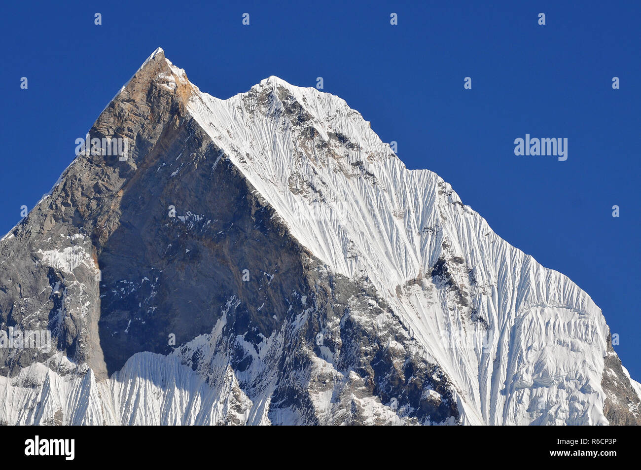 Nepal, Annapurna Conservation Area, Machapuchare Or Machhapuchhre Fish Tail, Mountain In The Annapurna Himal Of North Central Nepal, View From Annapur Stock Photo