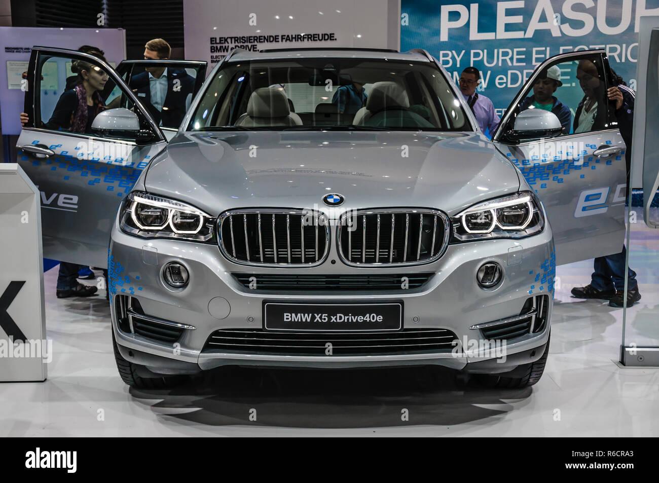 FRANKFURT - SEPT 2015: BMW X5 xDrive40e presented at IAA International Motor Show on September 20, 2015 in Frankfurt, Germany - Stock Image