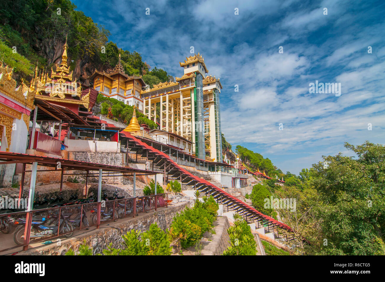 Path To The Pindaya Caves, Buddhist Shrine Where Thousands Of Buddha Images Have Been Consecrated For Worship Over The Centuries - Stock Image