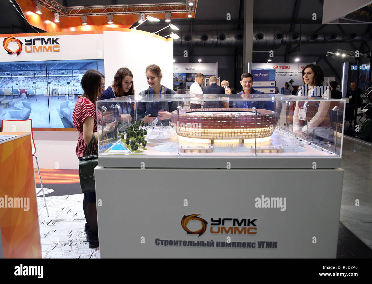 Yekaterinburg, Russia. 05th Dec, 2018. YEKATERINBURG, RUSSIA - DECEMBER 5, 2018: The Ural Mining and Metallurgical Company (UMMC) stand at the 100  Technologies International Forum for High-rise and Special Construction at the Yekaterinburg-Expo Exhibition Center. Donat Sorokin/TASS Credit: ITAR-TASS News Agency/Alamy Live News Stock Photo