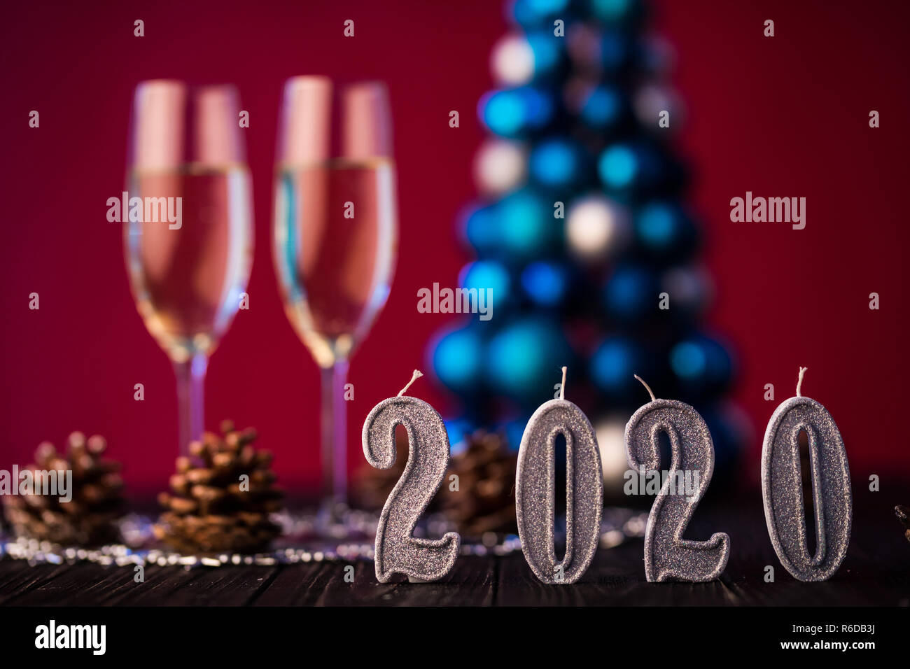 Christmas 2020.New Year 2020 Composition With Champagne And Space For Text