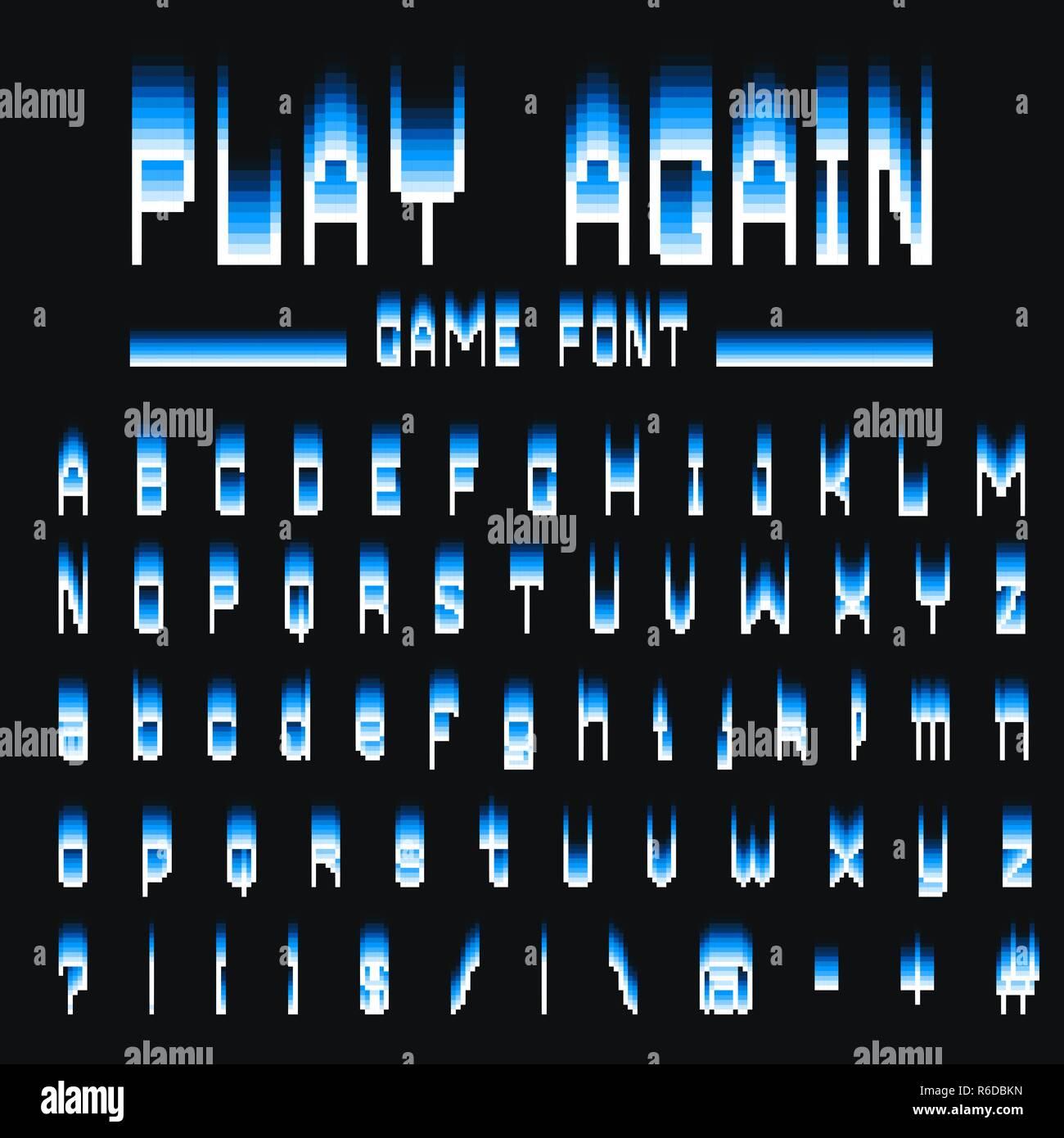 Pixel Font. 8-bit Symbols. Digital Video Game Style