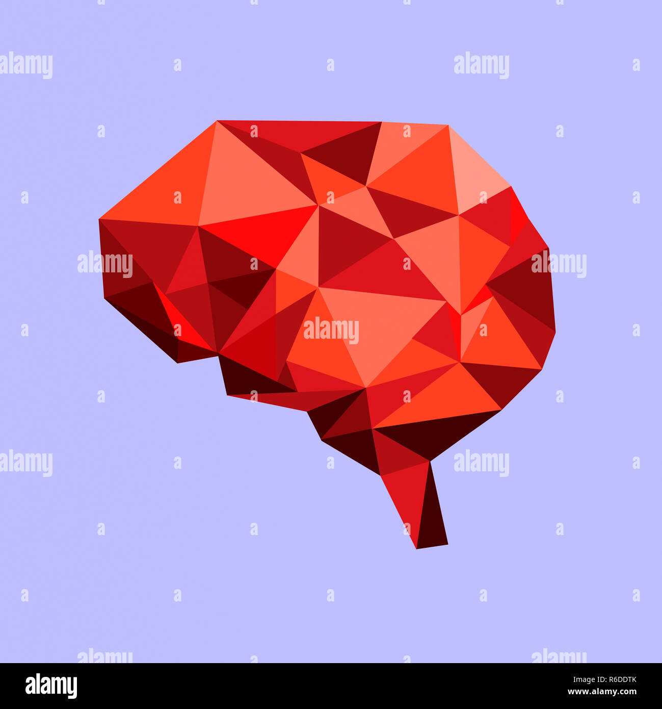 Low poly human brain made from red angular geometric shapes - Stock Image