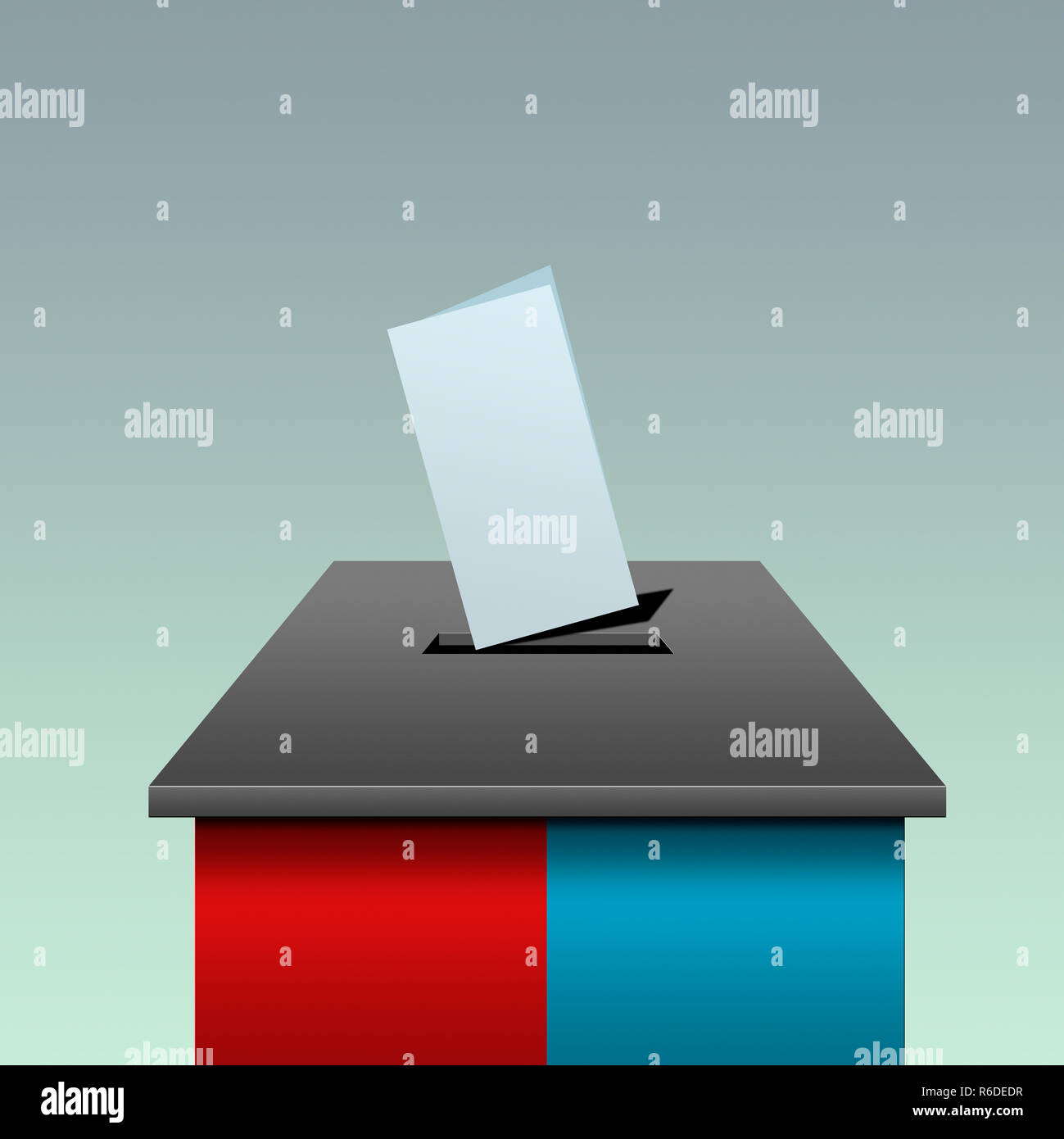 Digital image of ballot box colored red and blue, voting slip in slot - Stock Image