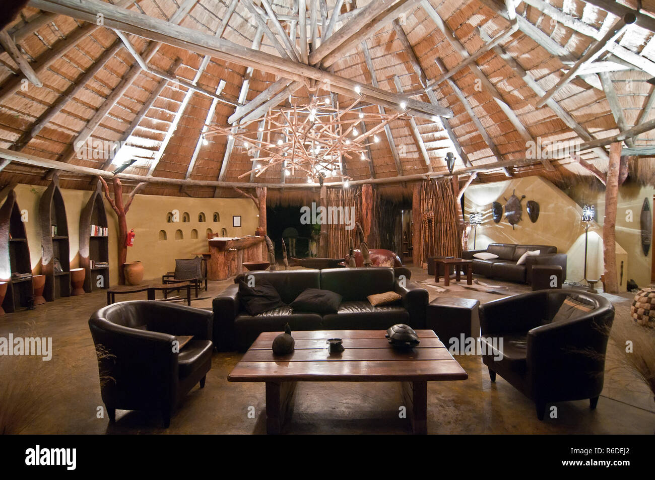 Africa, Namibia, Lodge, Living Room - Stock Image