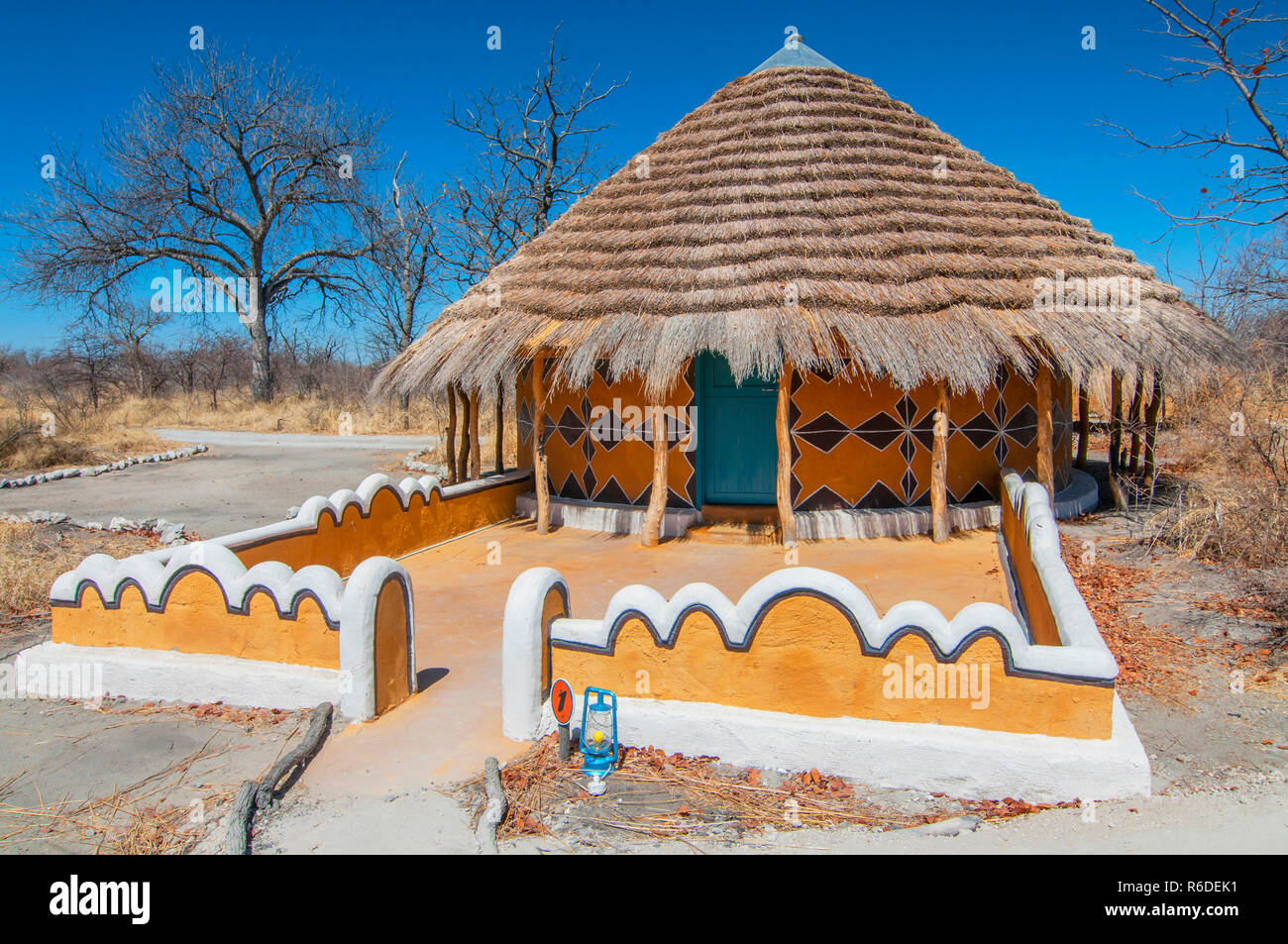 Traditional Hut Accommodation At Planet Baobabin Botswana, Africa Stock Photo