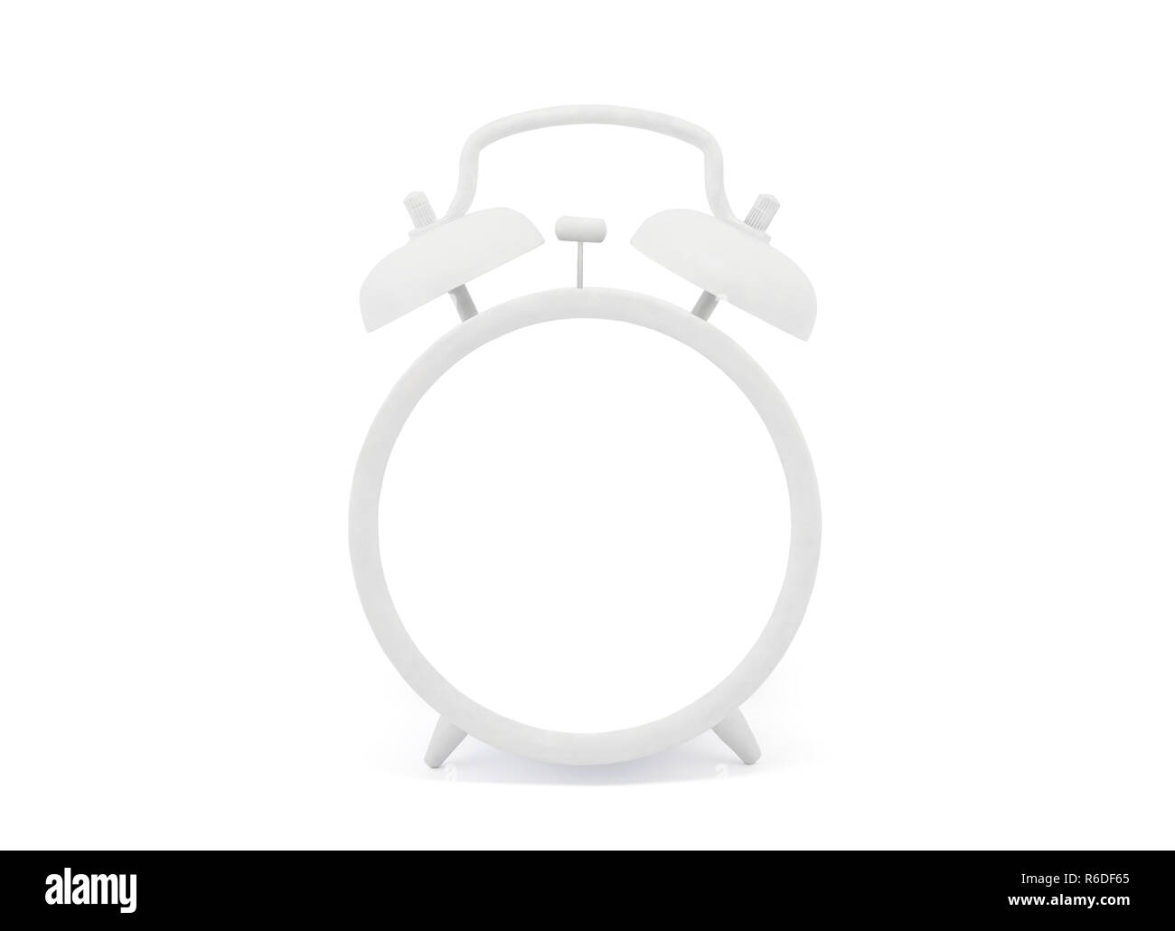 Blank old style white alarm clock with clipping path Stock