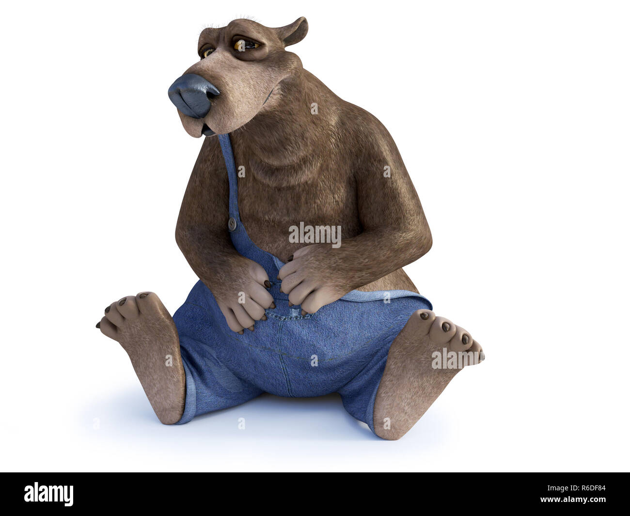 Cartoon Bear Sitting Down On The Floor Stock Photo Alamy