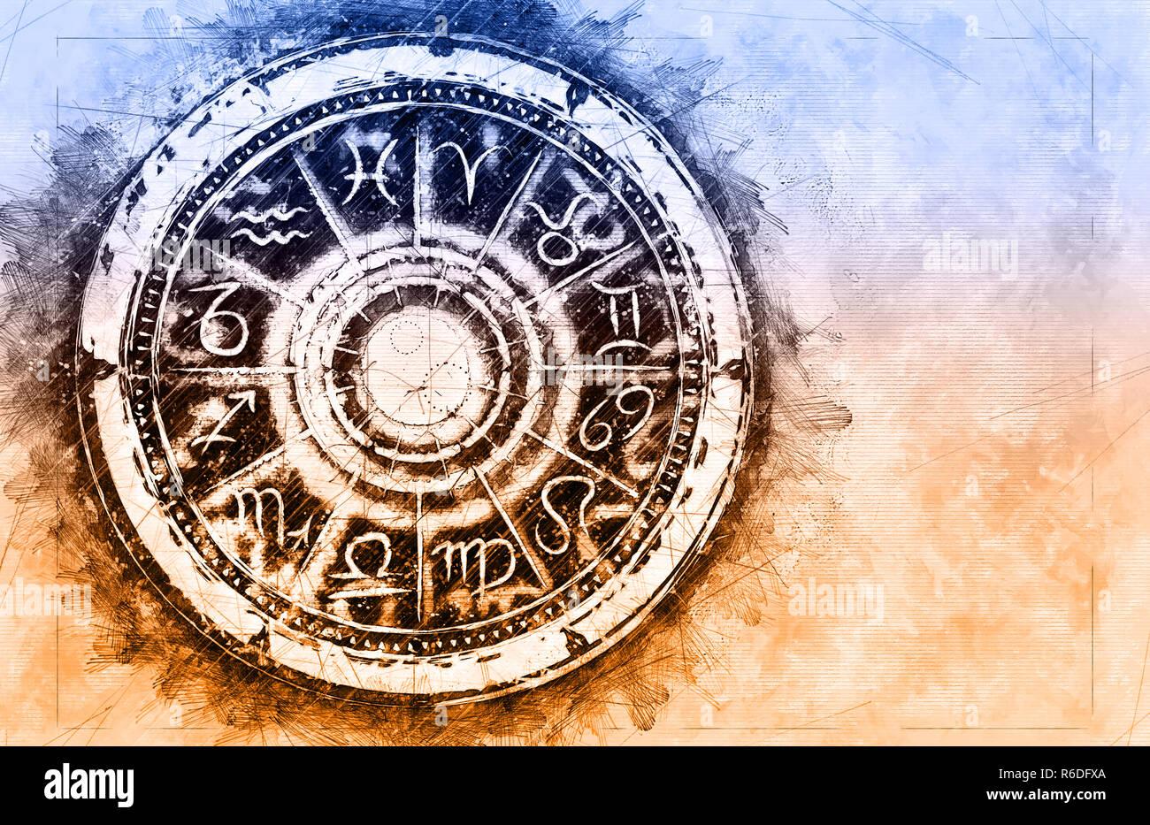 Zodiac sign horoscope cirlce on grunge background. Creative Astronomy Symbol concept - Stock Image