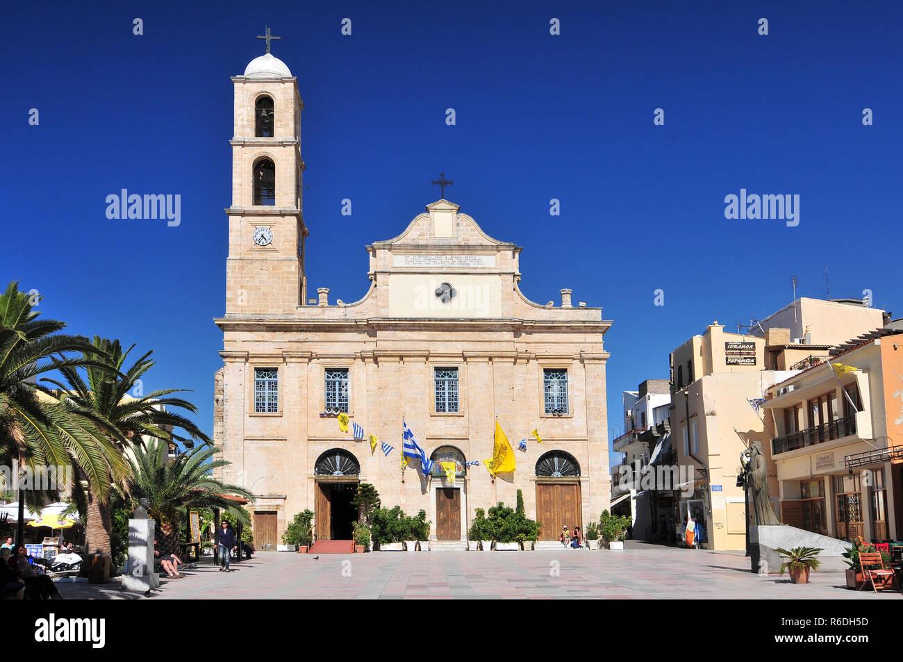 The Greek Orthodox Cathedral Dedicated To Panagia Trimartyri Chania Crete Stock Photo