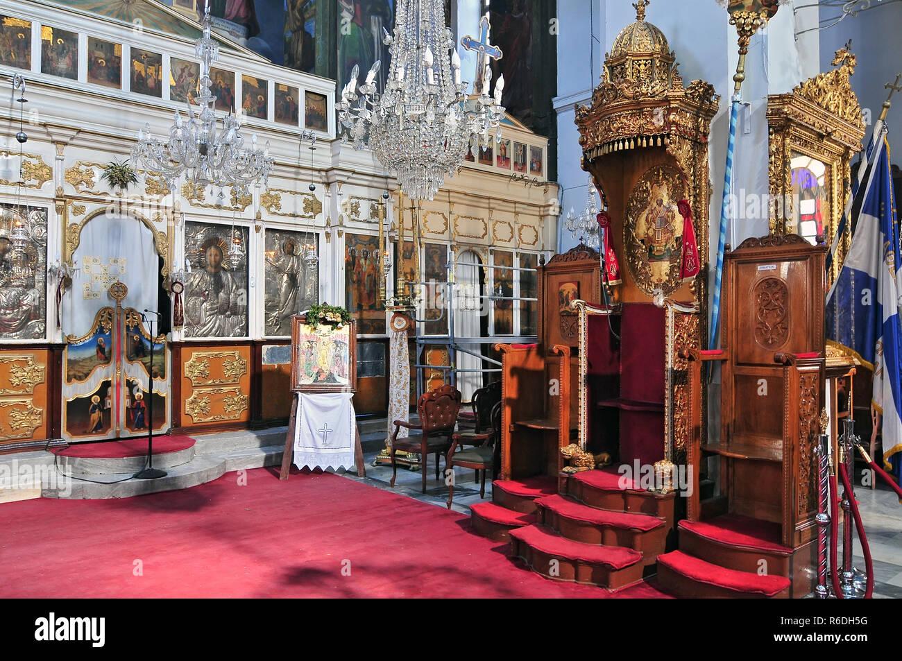 Interior Of The Greek Orthodox Cathedral Dedicated To Panagia Trimartyri Chania Crete Stock Photo