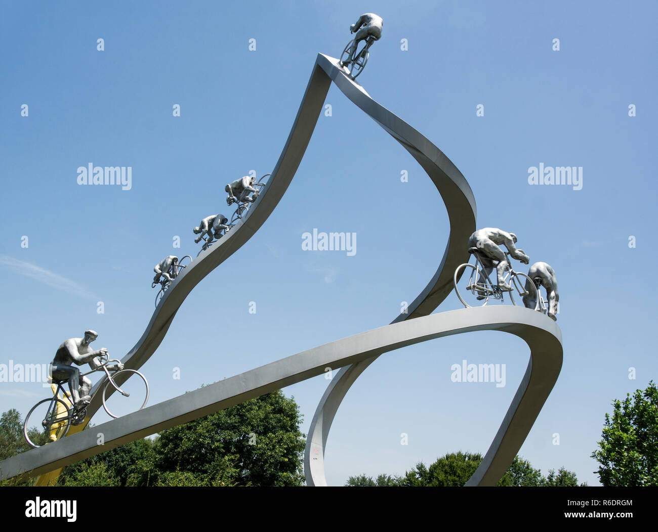 France.Tour de France monument on the A64-E80 motorway.Come off a few miles west of Tarbes onto the Aire de Pyrenees service station. Stock Photo