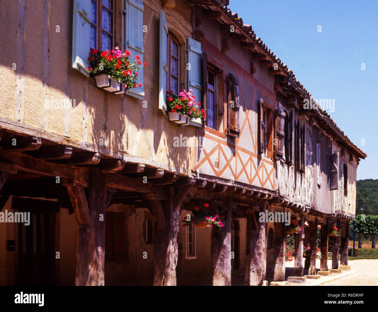 France.Dept. Gers. Half timbered houses in Bastide village of Tillac. - Stock Image