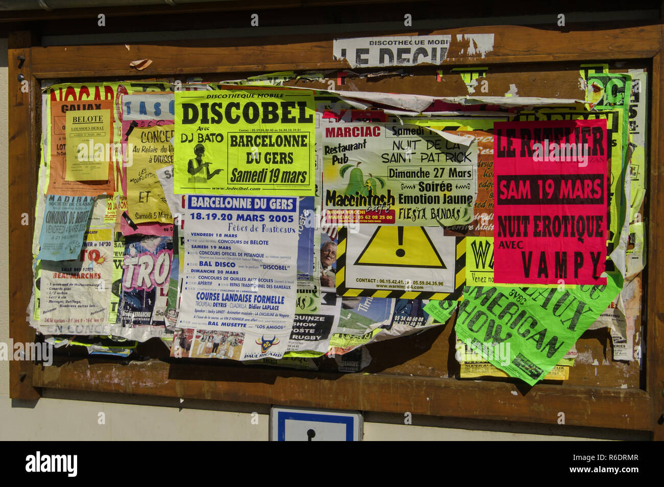 France.Village notice board from 2005.Every village seems to have such a board. Stock Photo