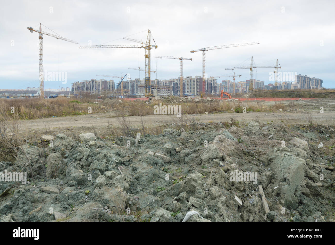 Urban housing construction.There is a lot of dirt and waste around.ecological disaster - Stock Image