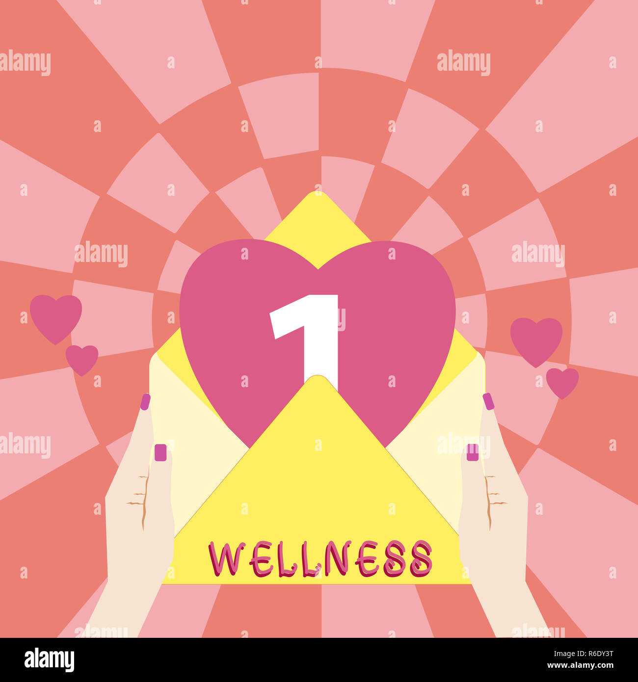 Handwriting text Wellness. Concept meaning state of being in good health especially as actively pursued goal Female Hu analysis Hand Holding an Open E Stock Photo