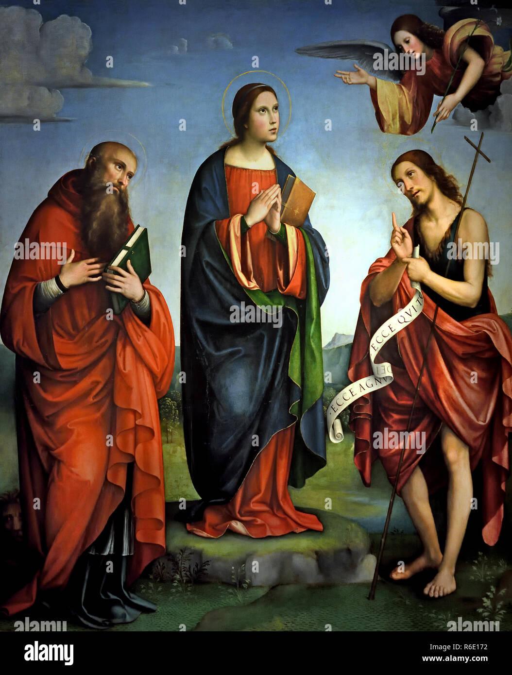 Virgin announced among the Saints John the Evangelist, Francis, Bernardino and Giorgio by Raibolini Francesco ( said France ) 1447 -1517 15-16th century, Italy, Italian. - Stock Image
