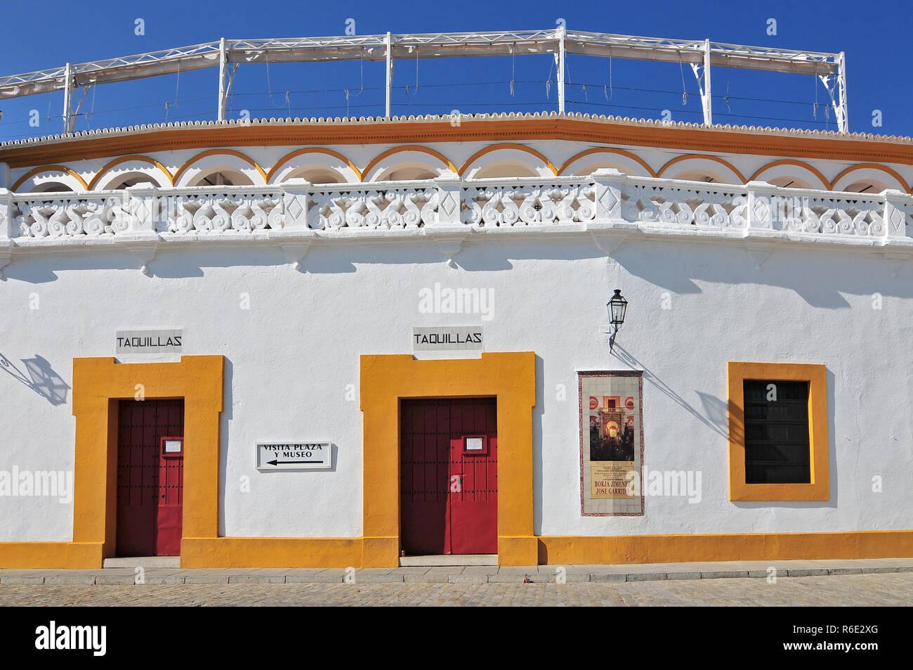 Spain, Andalusia, Sevilla, Plaza De Toros De La Real Maestranza De Caballeria De Sevilla, The Baroque Facade Of The Bullring Stock Photo