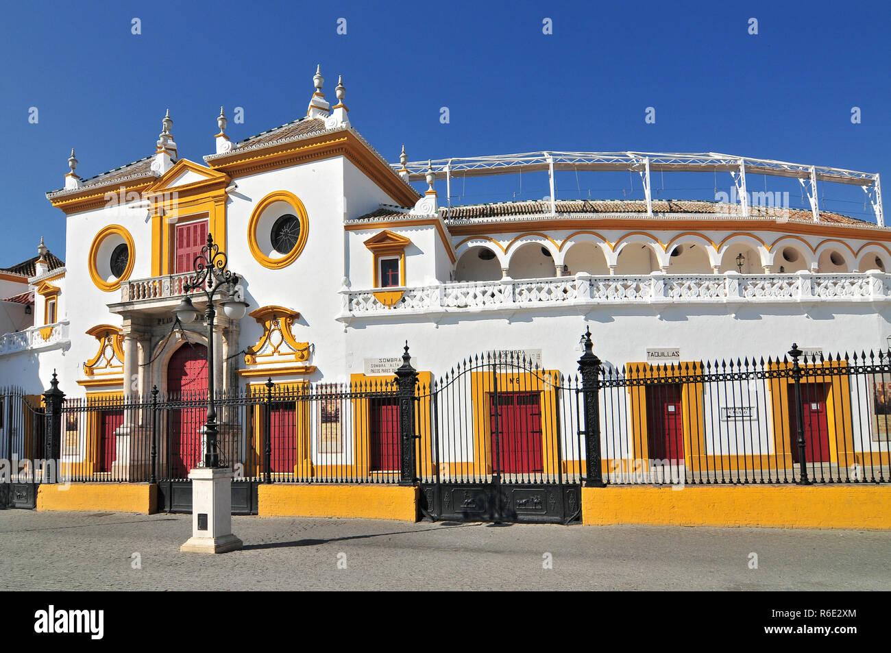 Spain, Andalusia, Sevilla, Plaza De Toros De La Real Maestranza De Caballeria De Sevilla, The Baroque Facade Of The Bullring - Stock Image