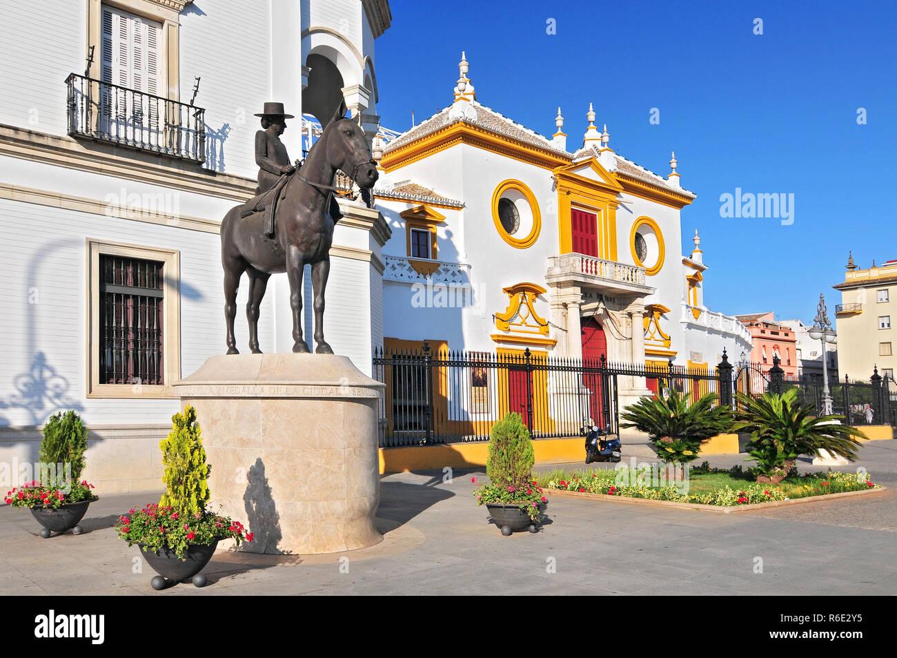 Plaza De Toros De La Real Maestranza De Caballeria De Sevilla, The Baroque Facade Of The Bullring, Spain, Andalusia - Stock Image