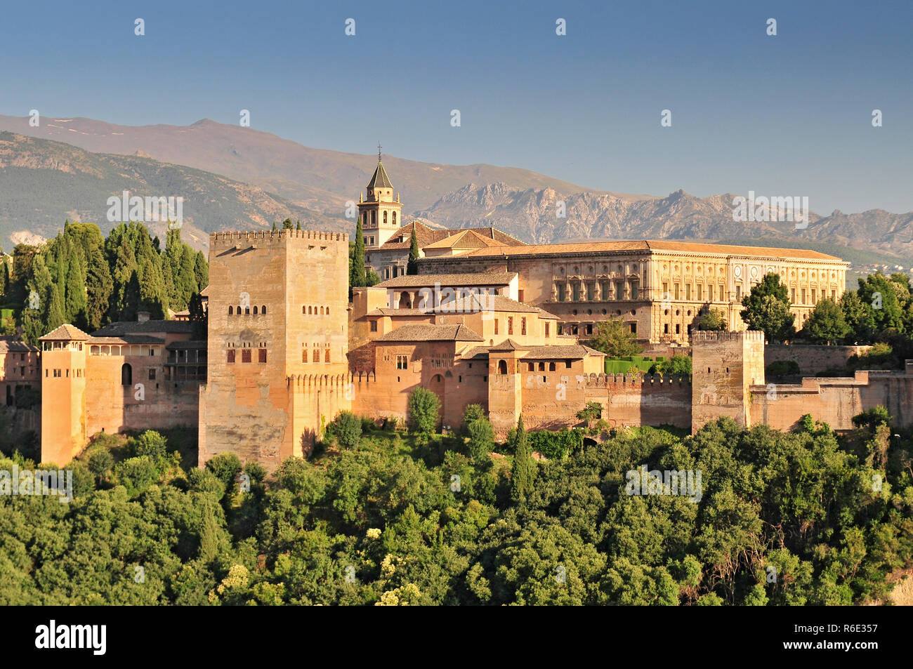 Spain Andalusia Granada View From Patio De La Acequia To Alhambra Overall View Of Alcazaba City Castle On The Hill Sabikah - Stock Image