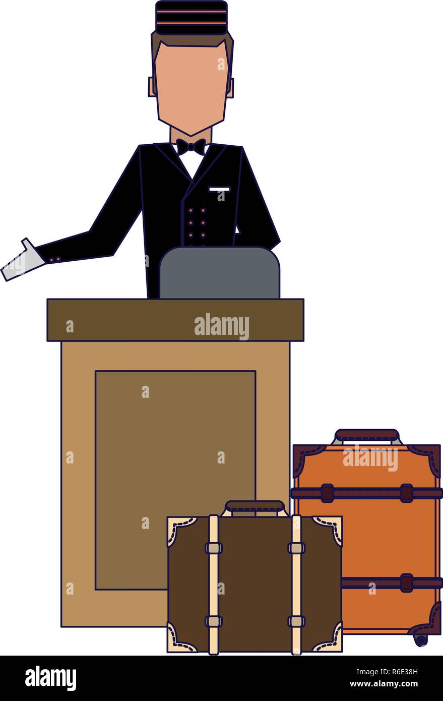 Bellboy with luggage - Stock Image