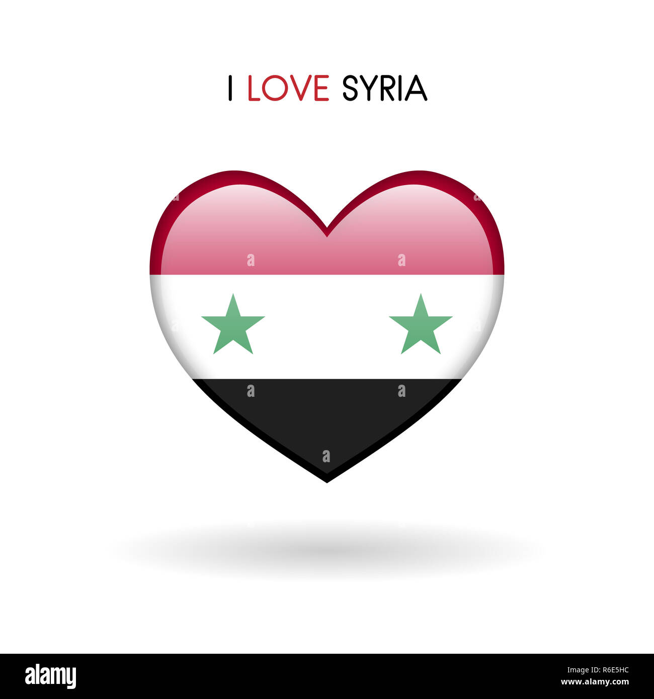 Love Syria symbol. Flag Heart Glossy icon on a white background - Stock Image