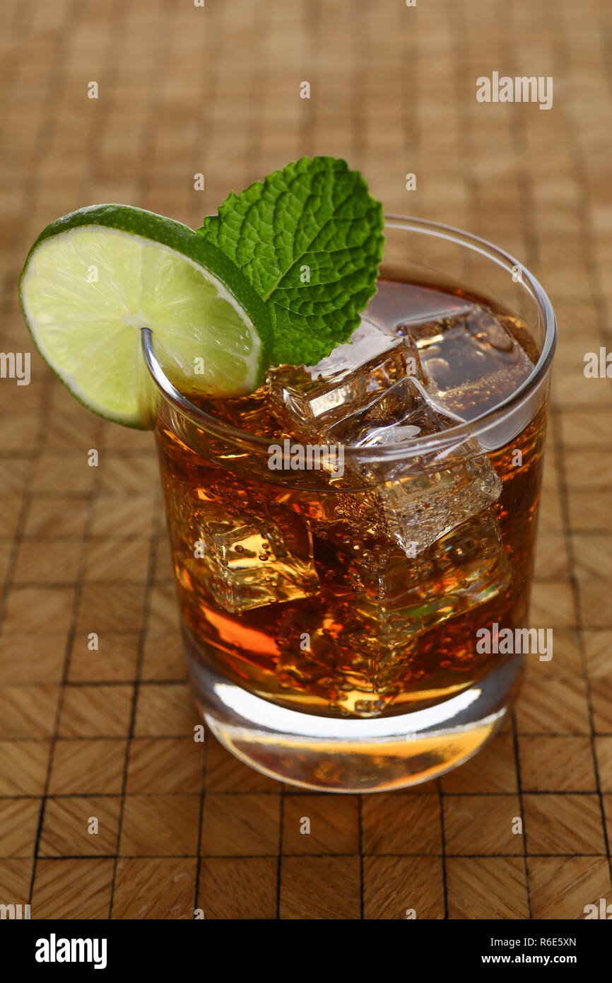 cocktail with cola and mint - Stock Image