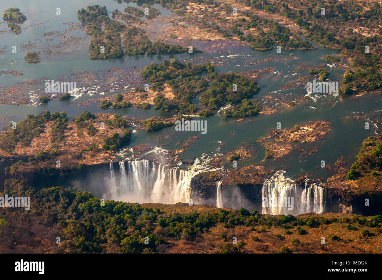 Victoria Falls, The Largest Curtain Of Water In The World The Falls And The Surrounding Area Is The National Parks And World Heritage Site, Zambia And - Stock Image