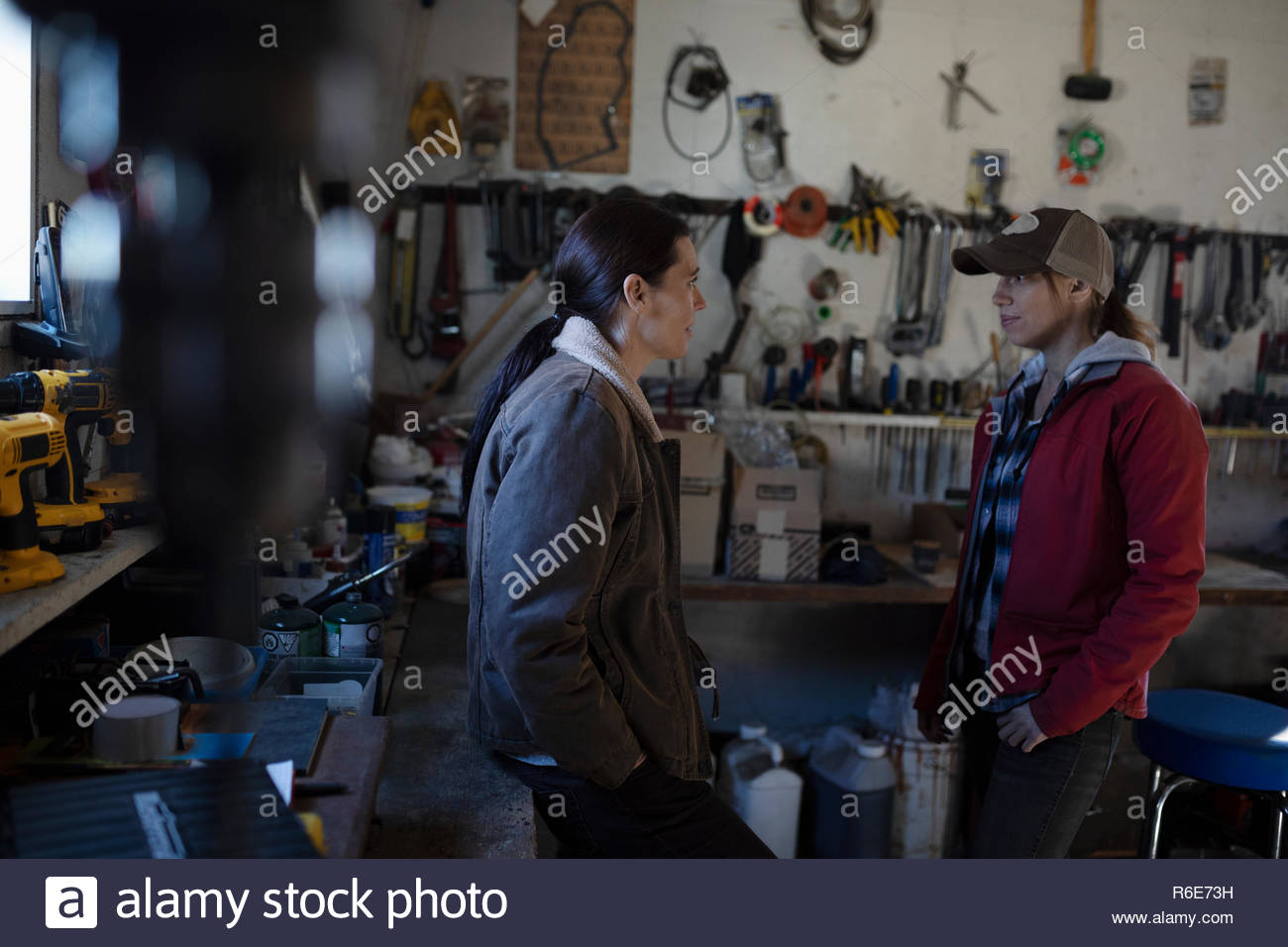 Female farmers talking in workshop Stock Photo
