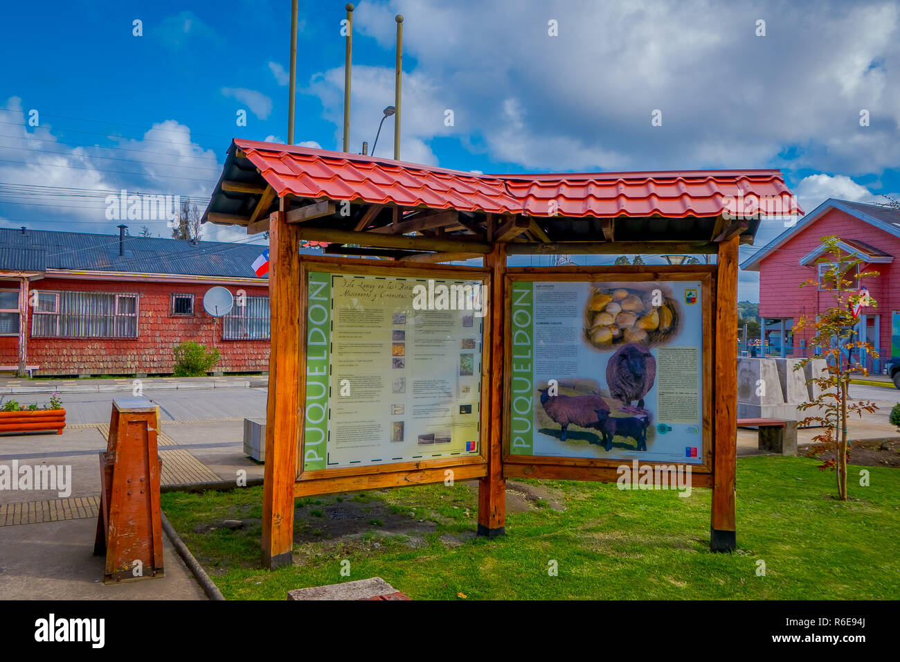 CHILOE, CHILE - SEPTEMBER, 27, 2018: Outdoor informative sign on Lemuy Island - Stock Image