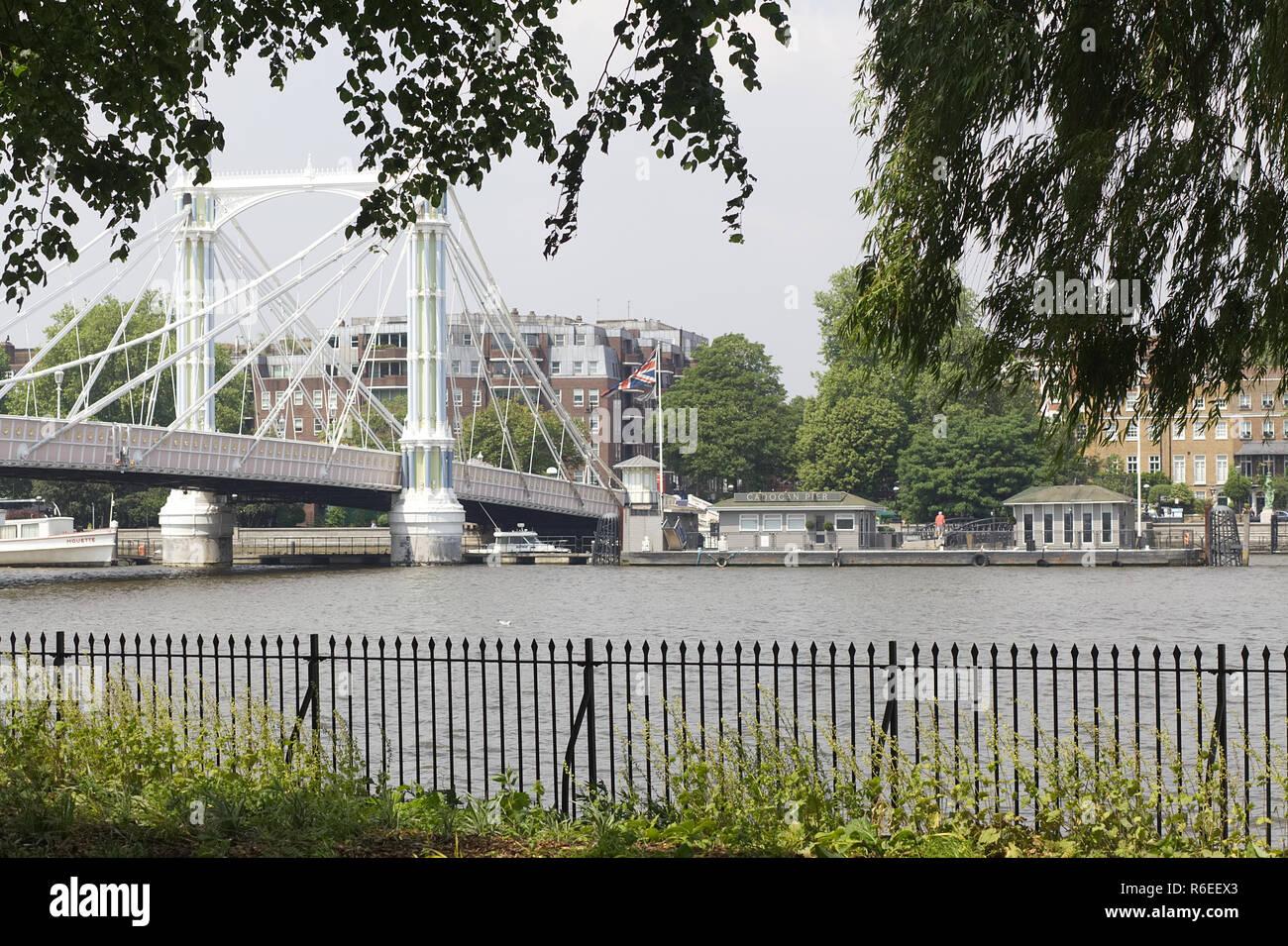 Albert Bridge from the Chelsea bank - Stock Image