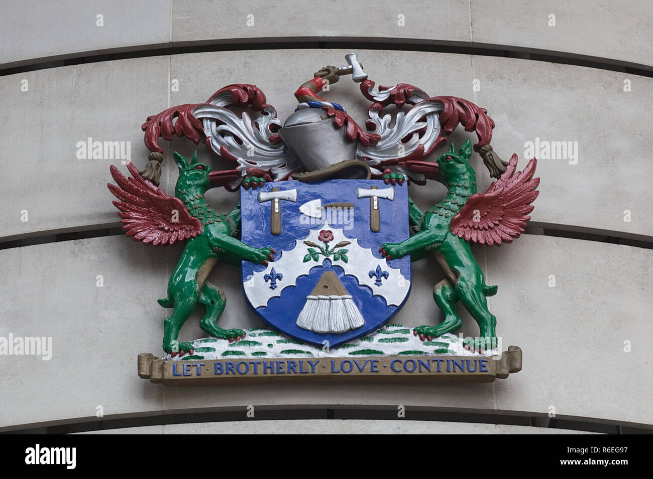 The Worshipful Company of Plaisterers Shield - Stock Image