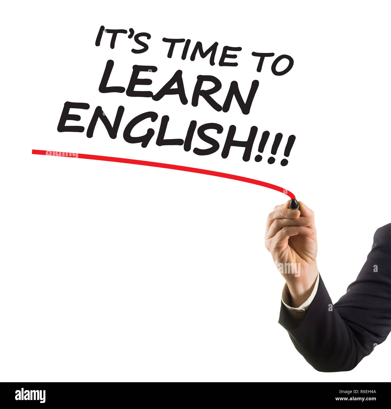 businessman hand with felt tip marker writing text it is time to learn english - Stock Image