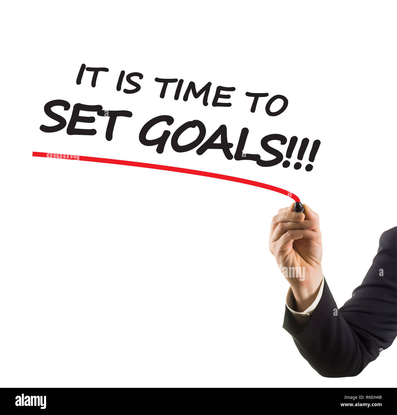 businessman hand with felt tip marker writing text it is time to set goals - Stock Image