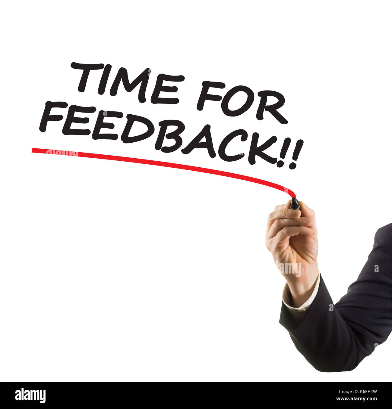 businessman hand with felt tip marker writing text time for feedback - Stock Image