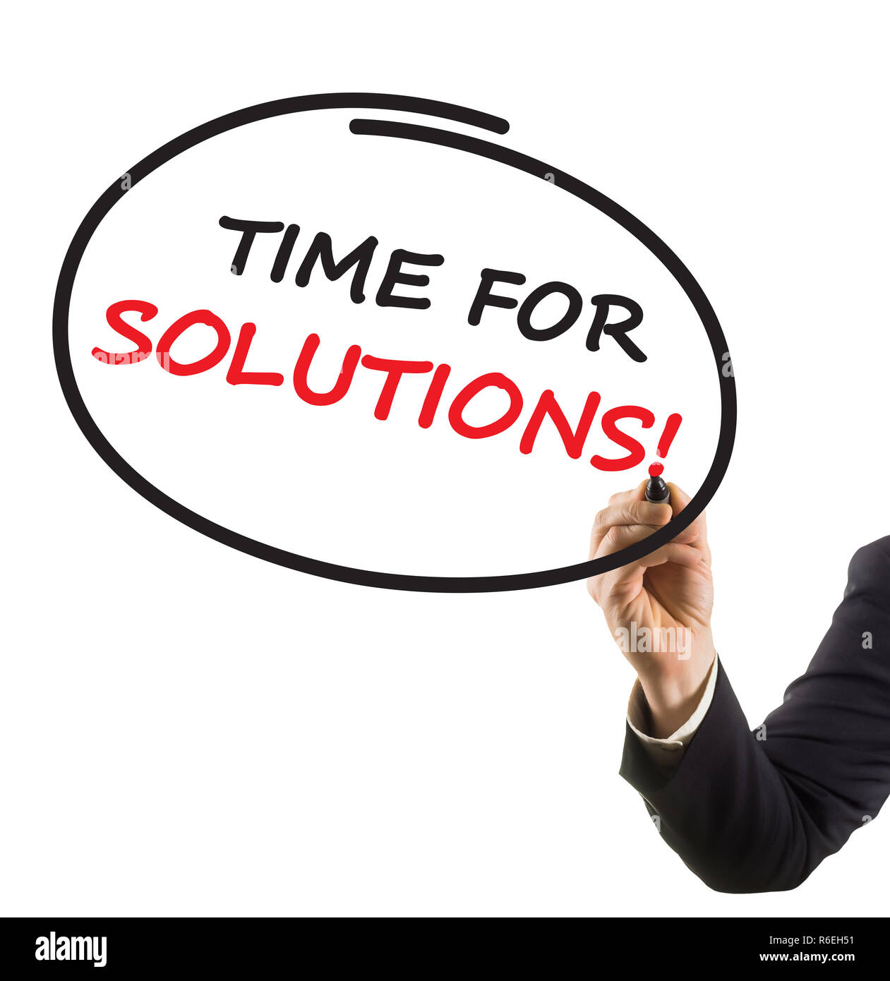 businessman hand with felt tip marker writing text time for solutions - Stock Image