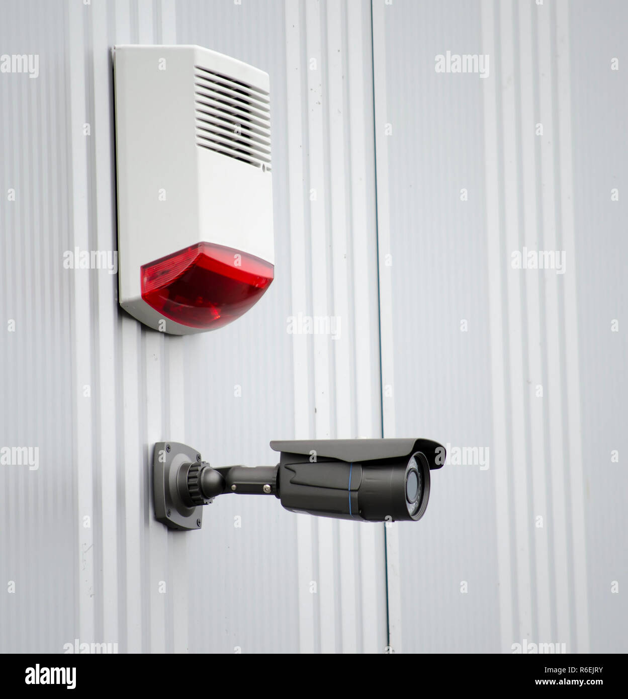 surveilance camera on industrial hall - Stock Image