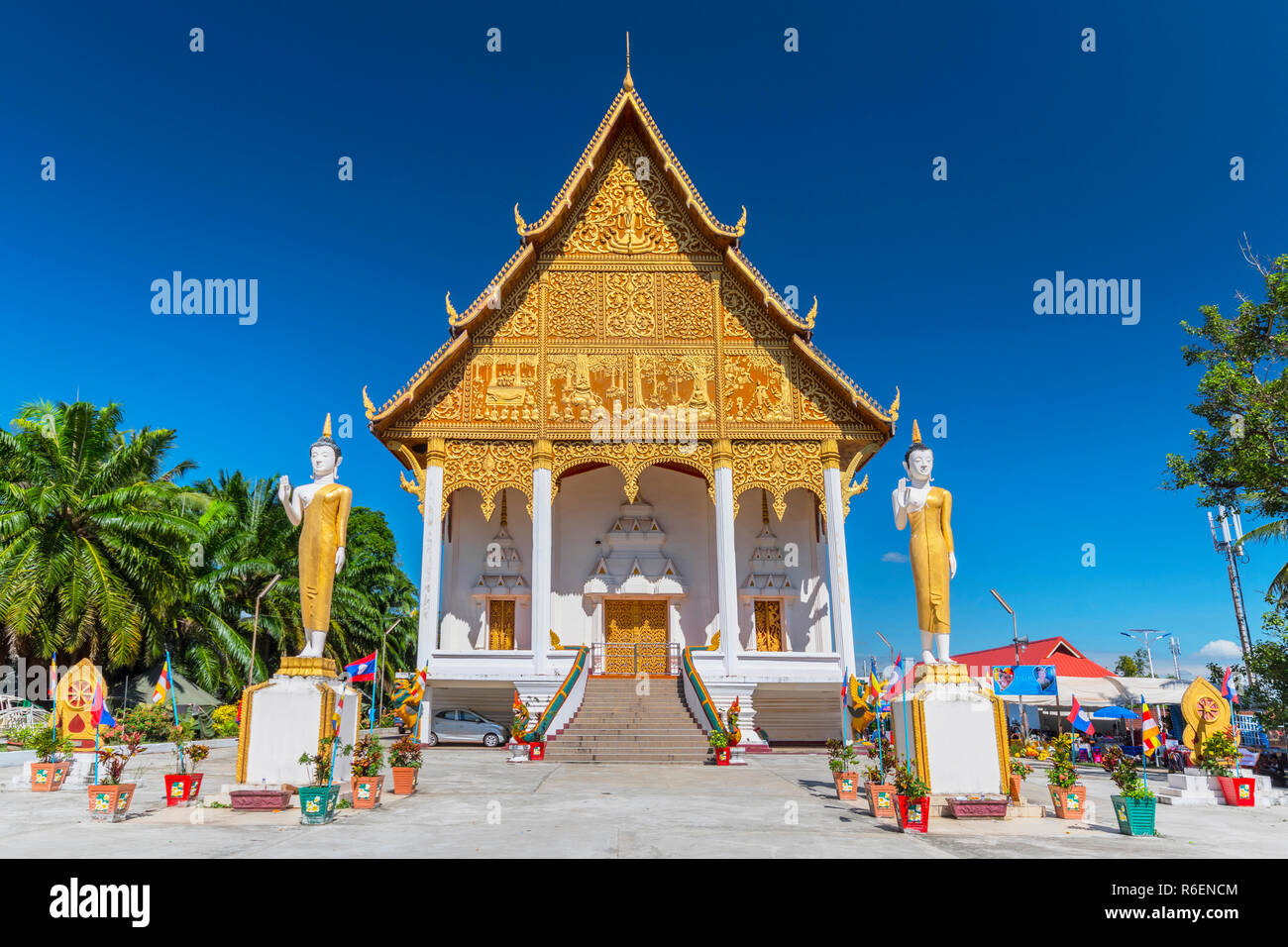 Buddha Statues In Front Of Wat That Luang Neua Temple, Vientiane, Laos, Indochina, Asia - Stock Image