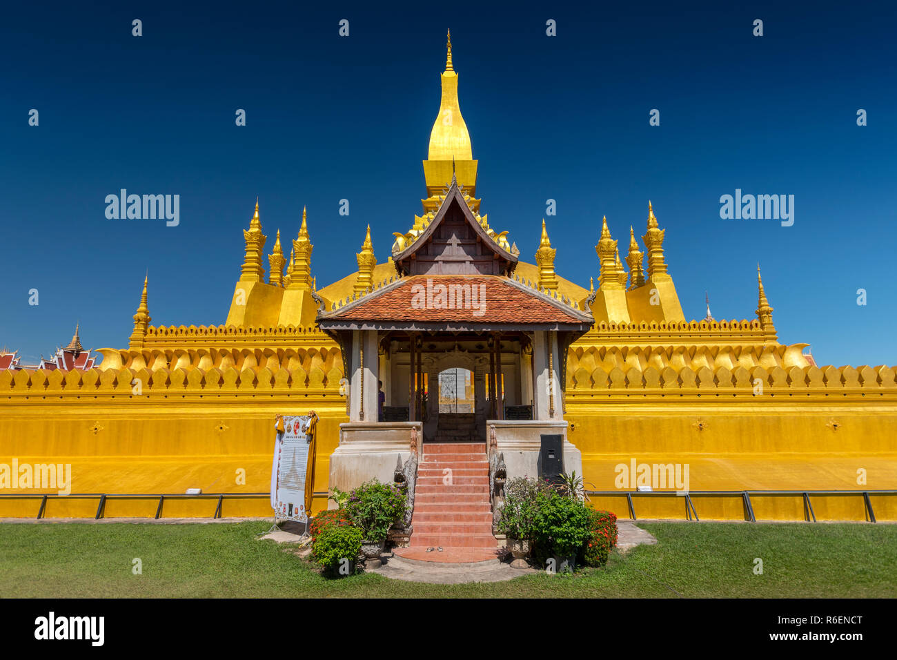 Pha That Luang, Symbol Of The Laos Sovereignty, Buddhist Religion And The City Of Vientiane, Vientiane, Laos - Stock Image