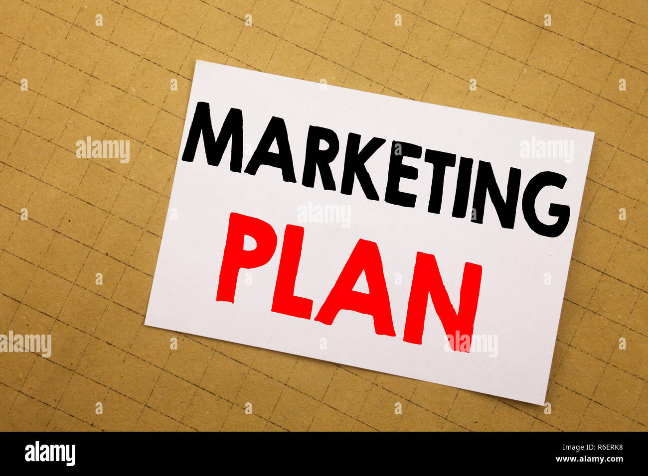 Conceptual hand writing text caption inspiration showing Marketing Plan. Business concept for Planning Successful Strategy Written on sticky note yellow background. - Stock Image