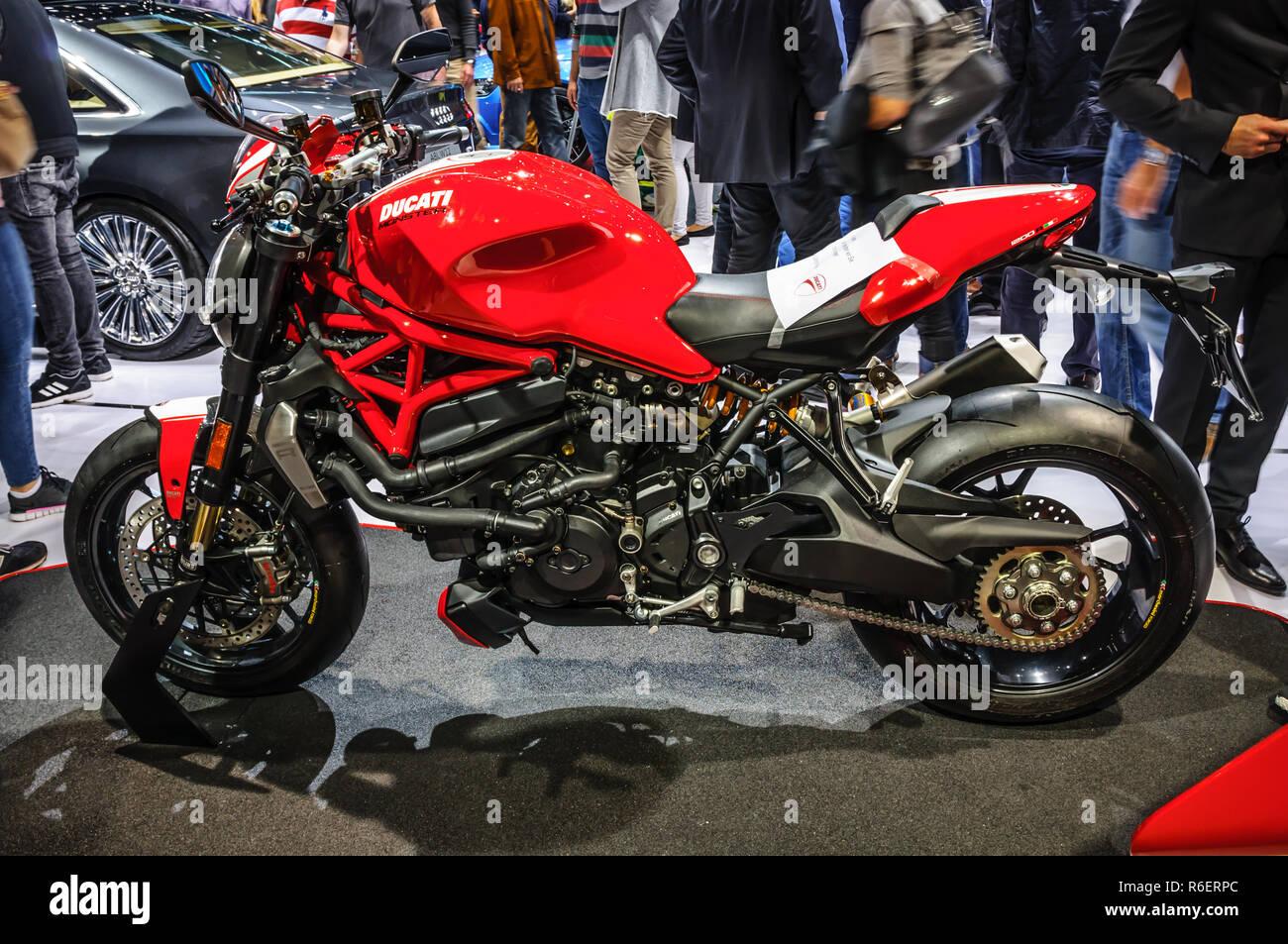 FRANKFURT - SEPT 2015: Ducati Streetfighter 848 presented at IAA International Motor Show on September 20, 2015 in Frankfurt, Germany - Stock Image