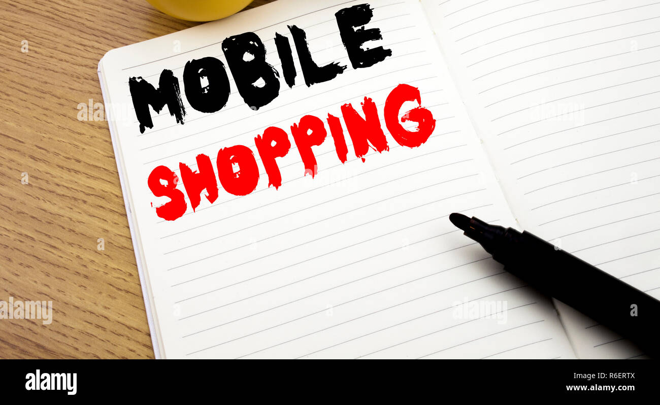 Handwritten text caption showing Mobile Shopping  Business