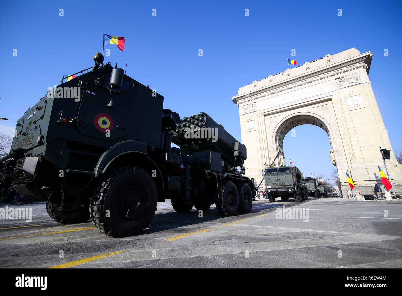 BUCHAREST, ROMANIA - December 1, 2018: The LAROM multiple rocket launcher, in service with the Romanian Land Forces, at Romanian National Day military - Stock Image