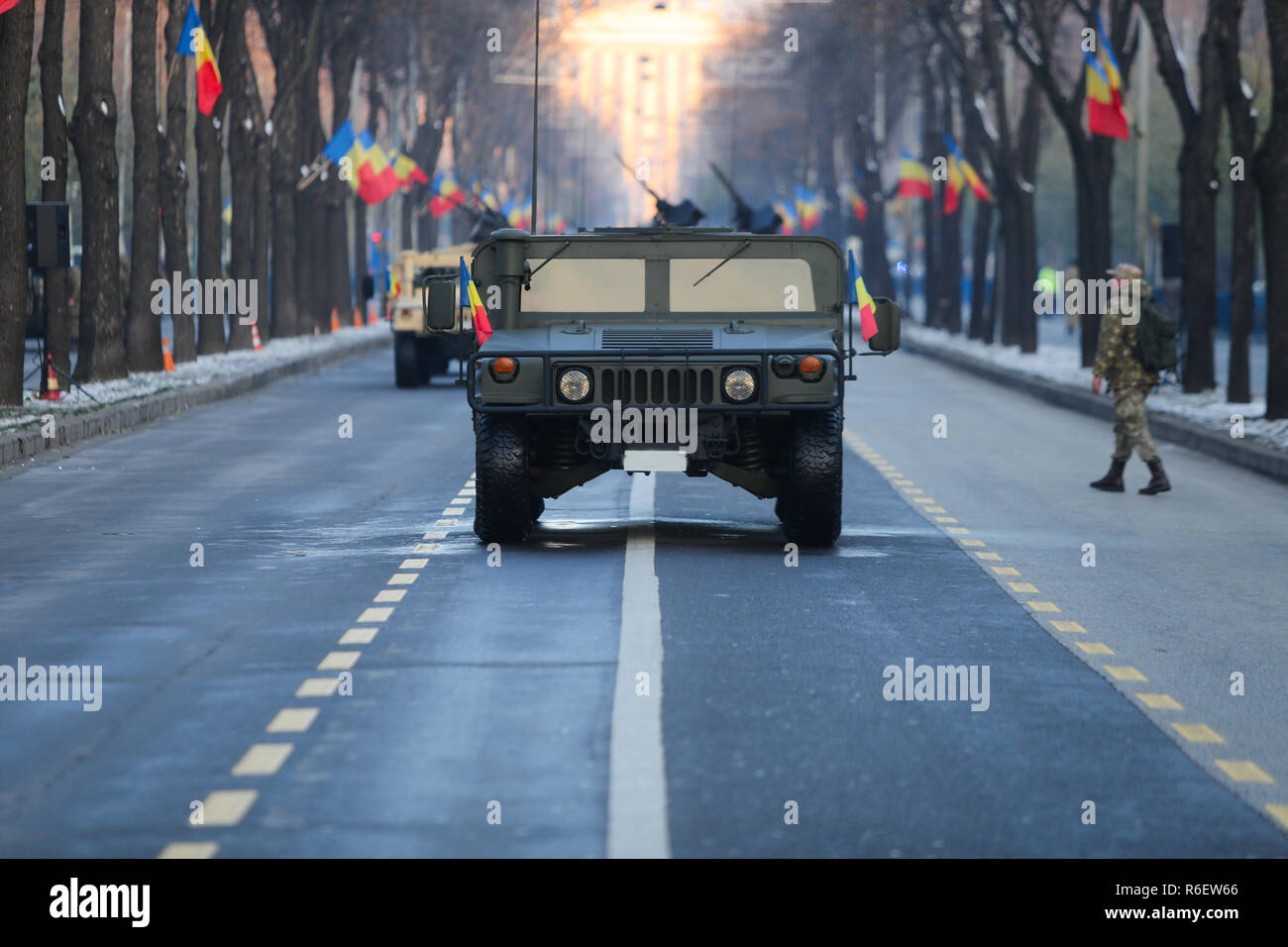 BUCHAREST, ROMANIA - December 1, 2018: Humvee military vehicle from the Romanian army at Romanian National Day military parade - Stock Image