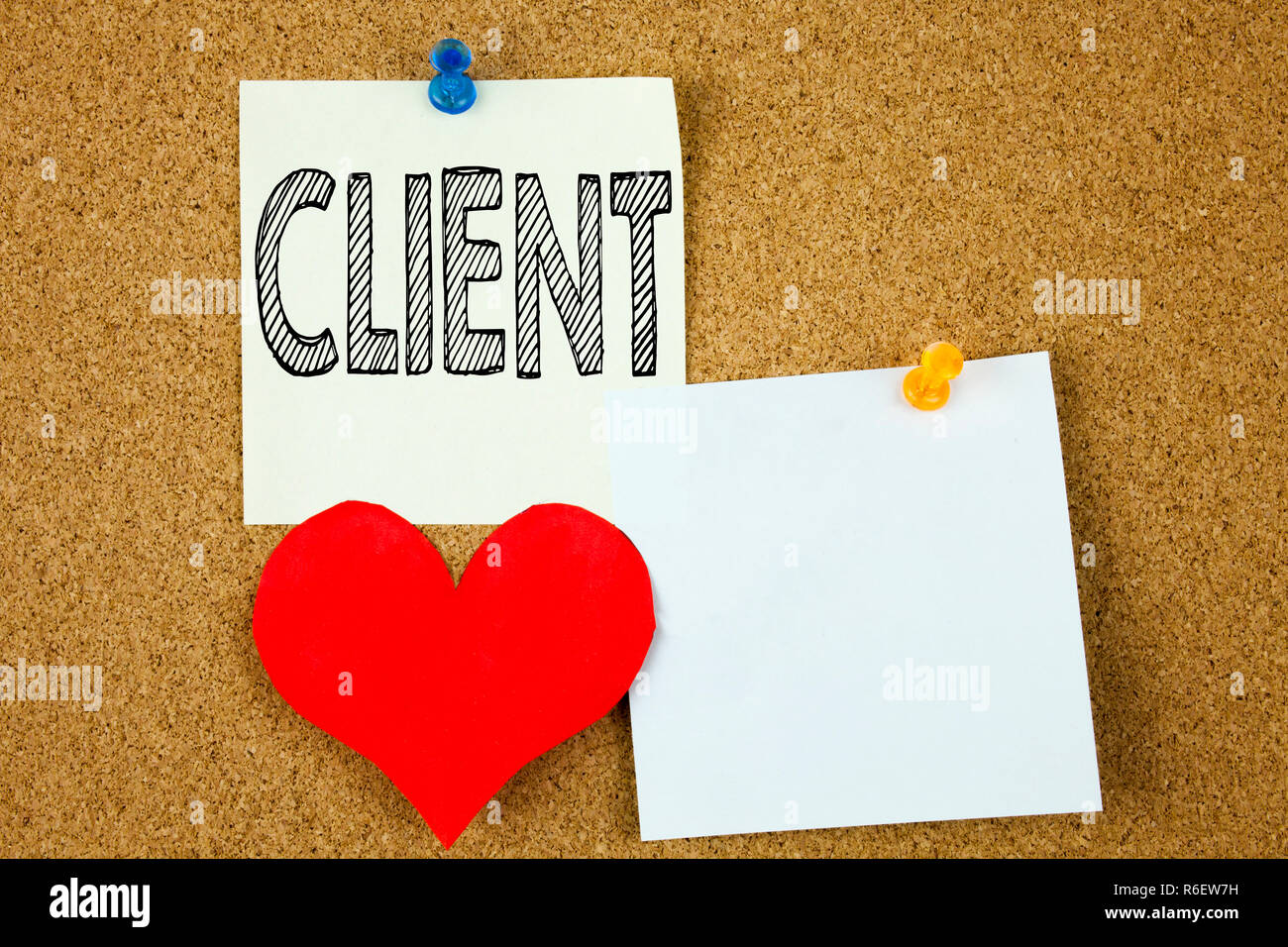 Conceptual hand writing text caption inspiration showing Client concept for Client Customer Business and Love written on sticky note, reminder cork background with copy space - Stock Image