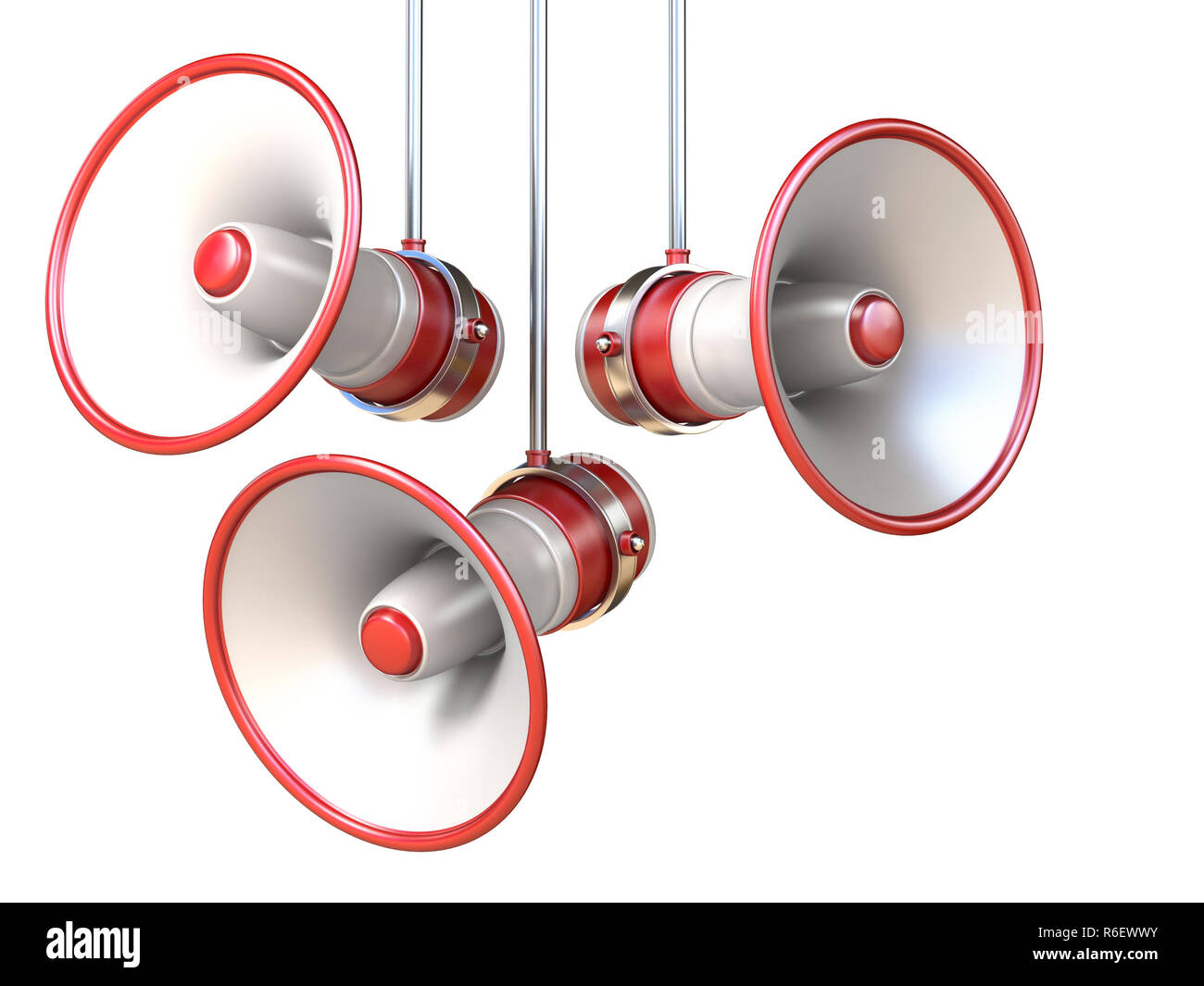 Three red and white megaphones 3D - Stock Image