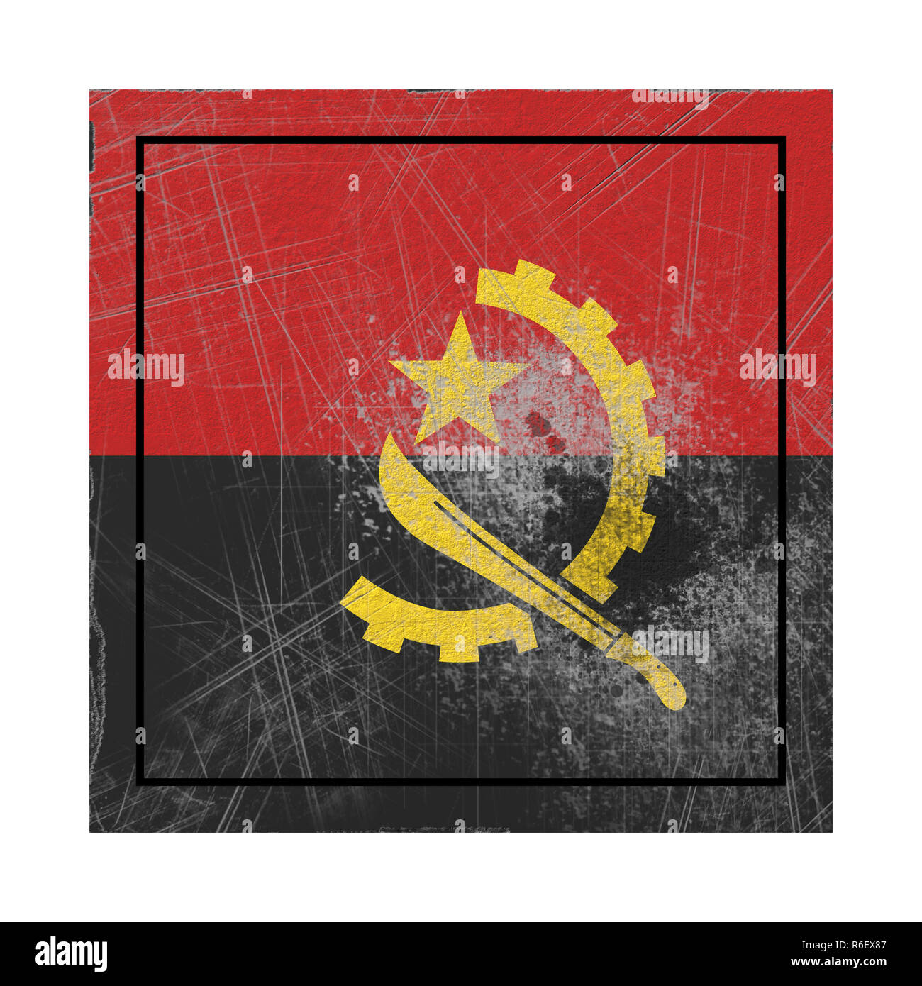 3d rendering of an old Angola flag in a concrete square - Stock Image